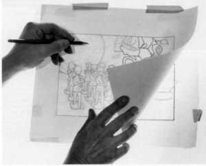 калька успешно применяется для рисования в черно-белых тонах