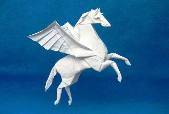 фигуры из бумаги - пегас в технике оригами
