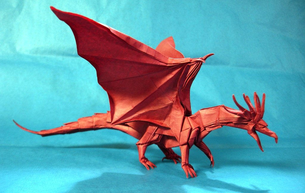 дракон в стиле мокрого оригами своими руками