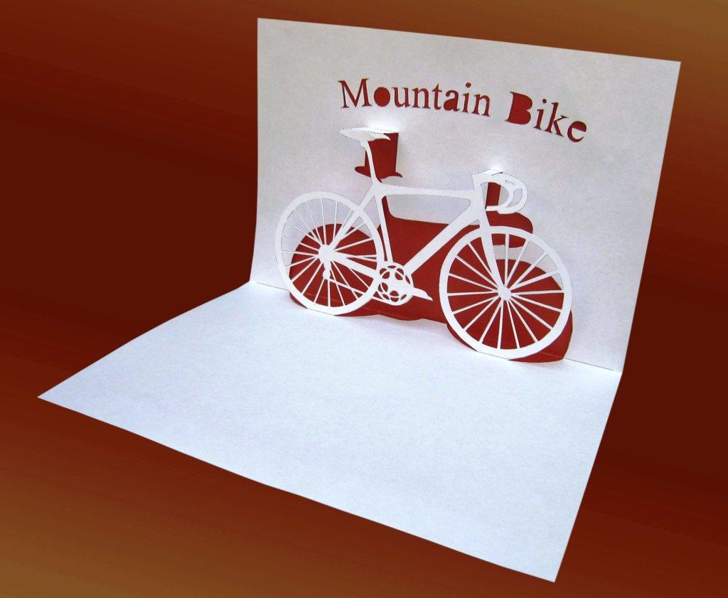 открытка с велосипедом из бумаги в стиле киригами