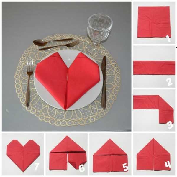 бумажные салфетки можно сложить в виде сердца