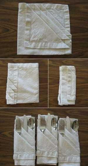 бумажные салфетки красиво складываются французским способом