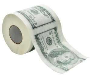 напечатанные деньги на туалетной бумаге