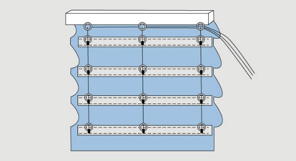 как выглядит собранная римская штора