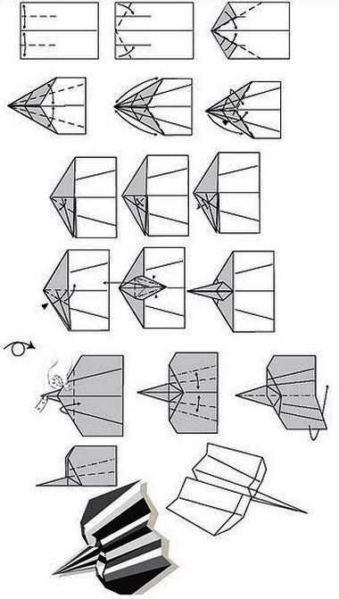 Как сделать остроносый самолет из бумаги с рифленными крыльями на 100 метров полета