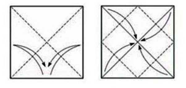 на первом шагу необходимо взять квадрат бумаги и сделать сгибы