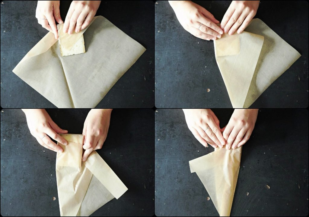 как упаковать пищу в пергамент