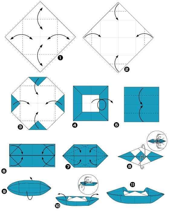 лодка из бумаги своими руками по схеме