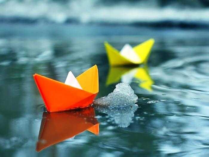 Кораблики из бумаги по схеме оригами