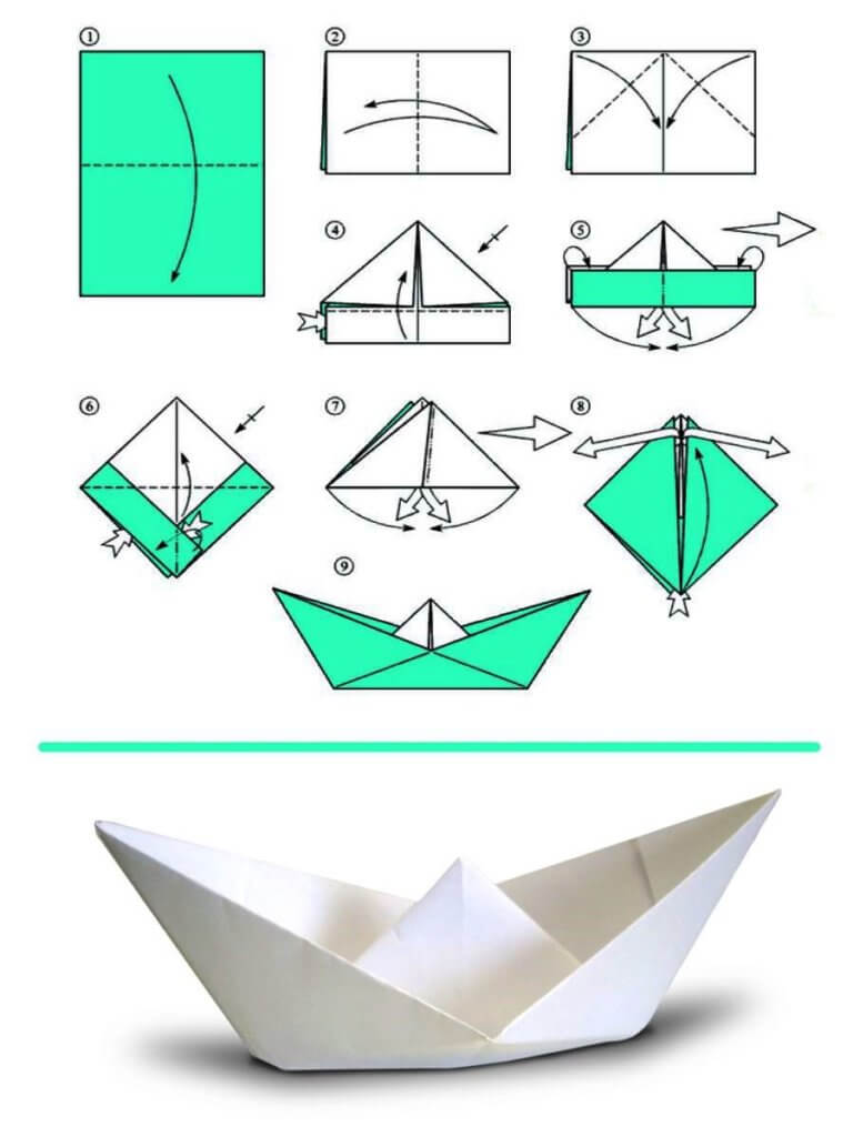 простая лодка из бумаги по схеме оригами