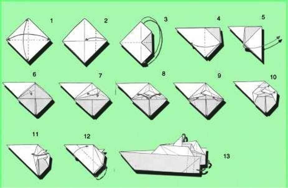 кораблики из бумаги по схеме сборки катера