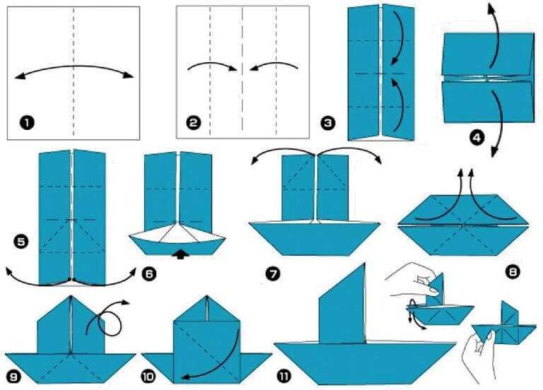 яхта из бумаги своими руками по схеме