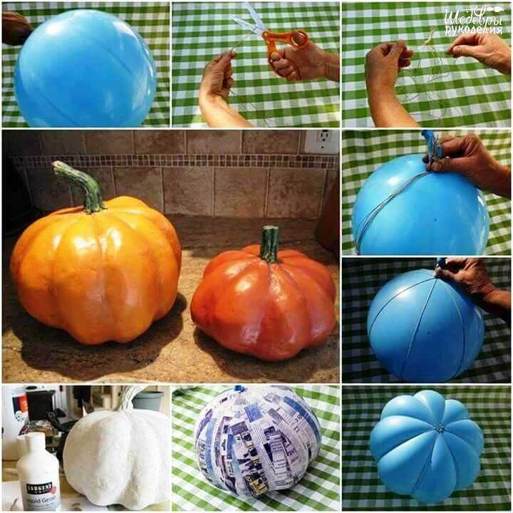 halloween pumpkin made quickly and easily out of paper mache