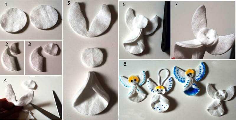 инструкция как сделать ангелочков из спонжиков