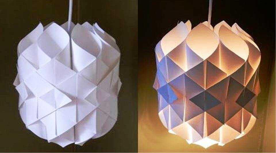 полностью бумажный светильник дома