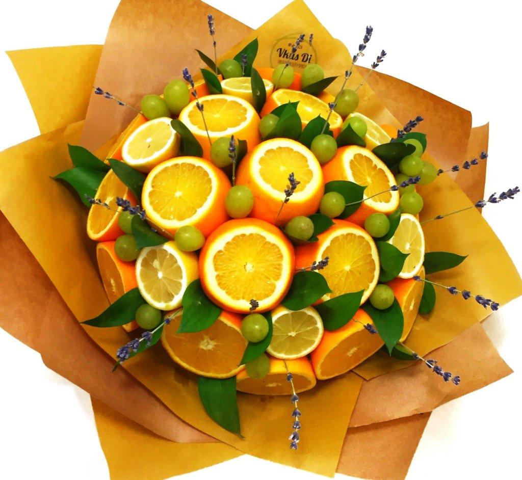 как сделать фруктовый букет из апельсинов и оливок