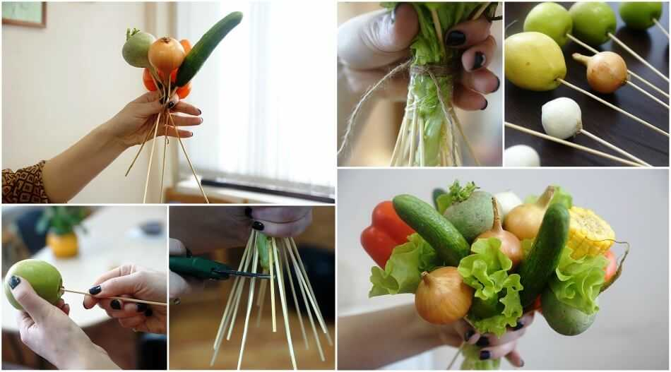 последовательность изготовления овощного букета своими руками