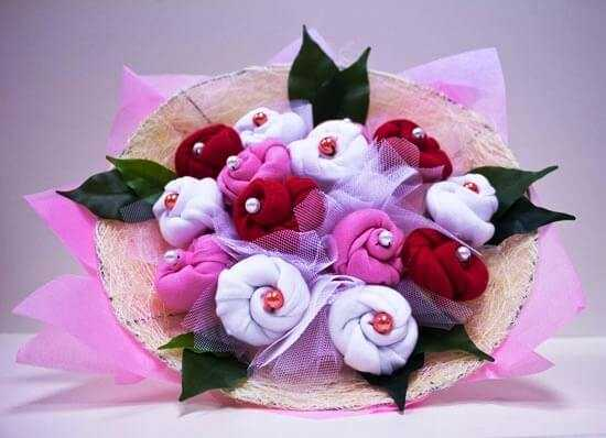 beautiful bouquet of socks for a woman