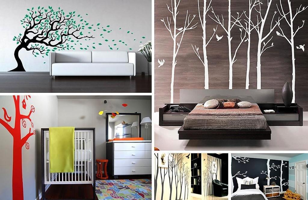 изображения деревьев на стенах спальни или детской комнаты